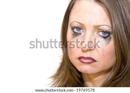 Woman Crying With Makeup Running