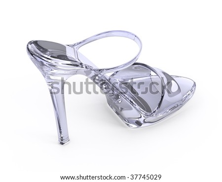 Woman crystal modern high heels shoe - stock photo