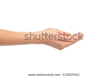 Woman cupped hands on a white isolated background