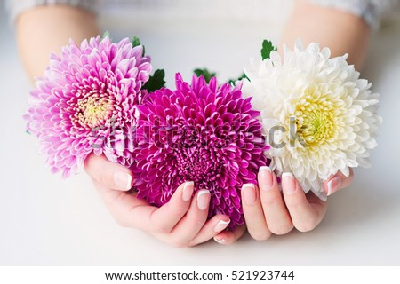 Woman cupped hands beautiful french manicure stock photo royalty woman cupped hands with beautiful french manicure holding pink and white flowers mightylinksfo