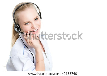 Woman customer service worker, call center smiling operator. - stock photo