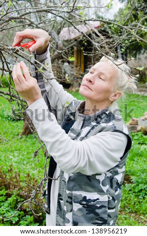 Woman cuts a branch at an Apple-tree, a spring in the garden