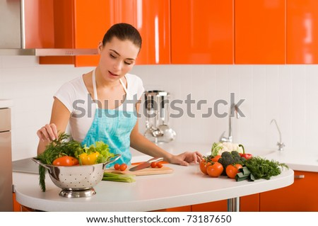 Woman cutting vegetables in modern kitchen interior - stock photo