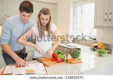 Woman cutting vegetables with man reading the cookbook in kitchen - stock photo