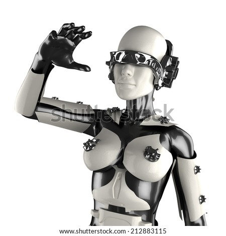 woman cyborg of steel and white plastic