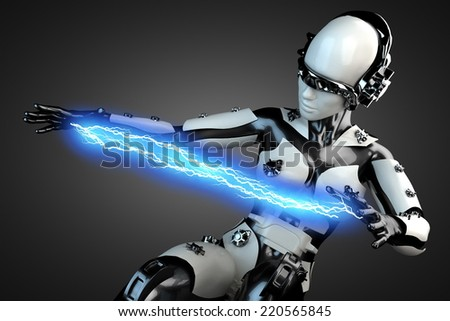 woman cyborg of steel and white plastic with lightning - stock photo