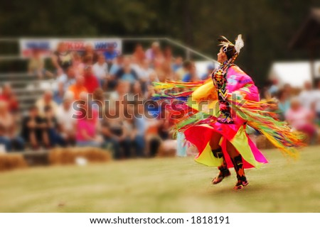 Woman dancer at the Trail of Tears annual pow wow - stock photo