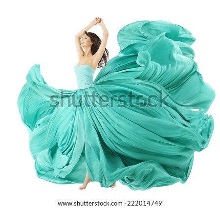 Woman Dancing In Fashion Dress, Fabric Cloth Waving On Wind, Flying Girl In Fluttering Gown And Flowing In Motion. Isolated Over White Background - stock photo
