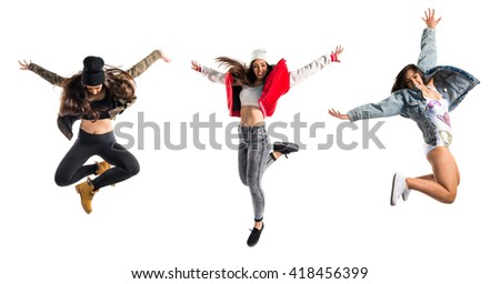 Woman dancing street dance - stock photo