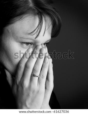 "Woman Depressed. ""Black and white portraits"" series - stock photo"