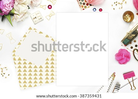 Woman desktop, template card, Mock up for your photo or text Place your work. Peonies and gold stationery. Gold Polka. Header website or Hero website - stock photo