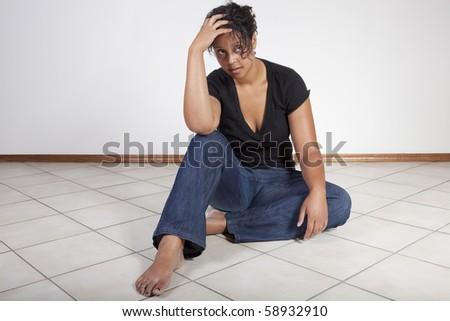 woman despondent, sad - stock photo