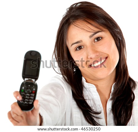 Woman displaying a cell phone isolated over a white background - stock photo