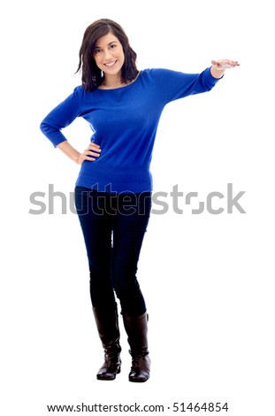 Woman displaying something imaginary - isolated over a white background