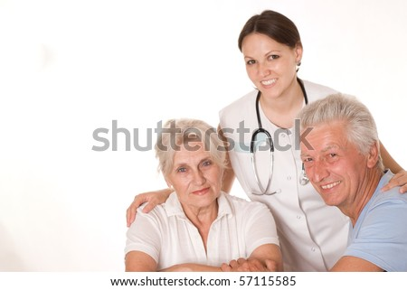 woman doctor and an elderly couple on a white