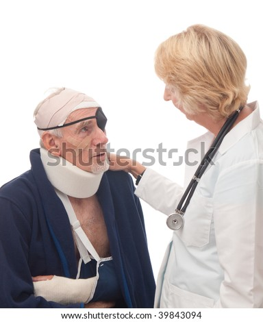 Woman doctor comforting injured old man