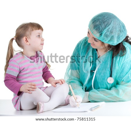 woman doctor in green work wear exam small young girl - stock photo