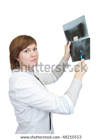 Woman doctor looking at x-ray, isolated over white - stock photo