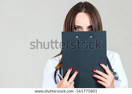 woman doctor nurse holding folder covers stock photo royalty free
