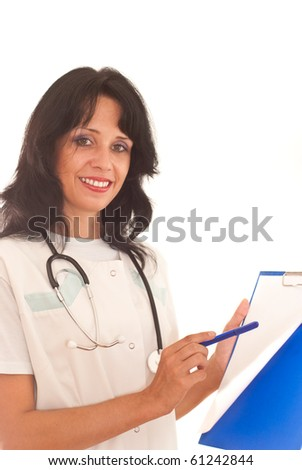 woman doctor on a white background