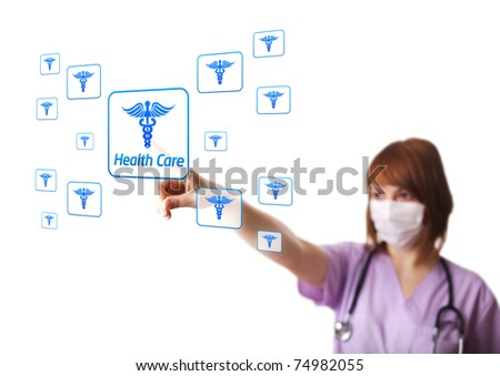 Woman doctor pressing digital button, selective focus, isolated on white - stock photo