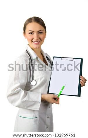 woman doctor showing clipboard with copy space for text or design
