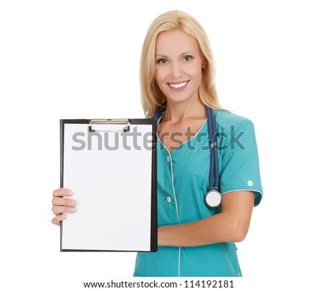 Woman doctor showing clipboard with copy space for your text or design.