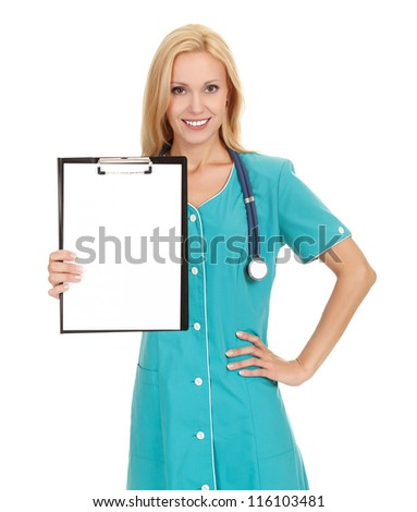 Woman doctor showing clipboard with copy space for your text or design