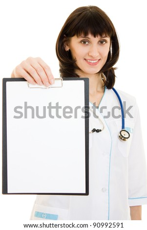Woman doctor with an advertising tablet on a white background.