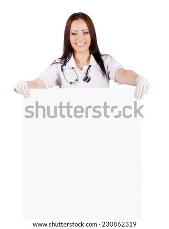 Woman doctor with placard. Isolated. white background.