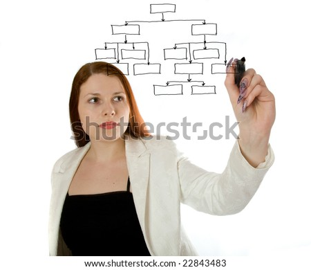 woman doing a database structure on the screen over white - focus is on the tip of the pen - stock photo