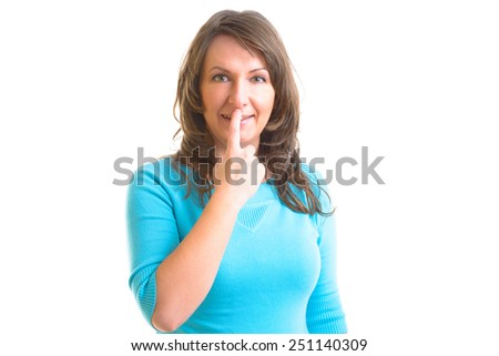 Woman doing EFT on the under nose point. Emotional Freedom Techniques, tapping, a form of counseling intervention that draws on various theories of alternative medicine.  - stock photo