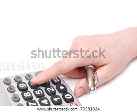 woman doing financial calculations on white