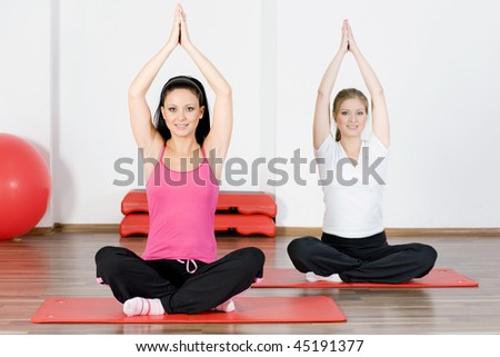 Woman doing fitness exercise - stock photo