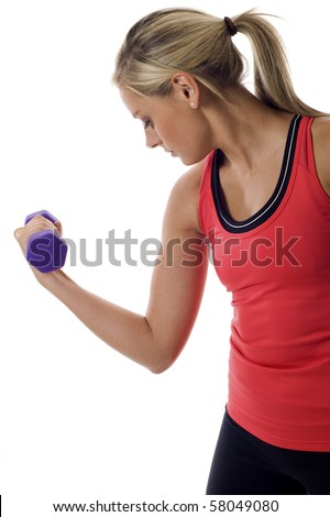 Woman doing fitness exercise, flexing her muscle - isolated over white background.