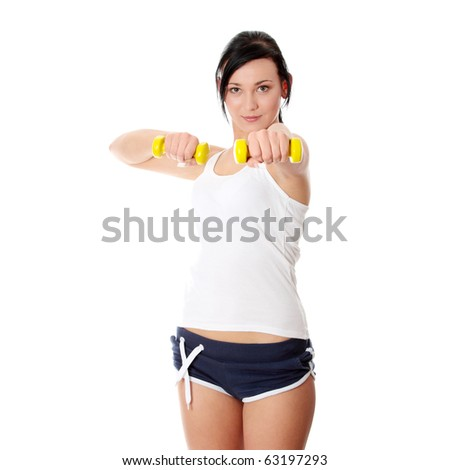 Woman doing fitness exercise, isolated on white - stock photo