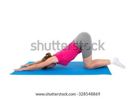 Woman doing gymnastics - stretching - stock photo