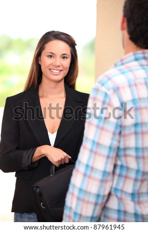 Woman doing home sales - stock photo