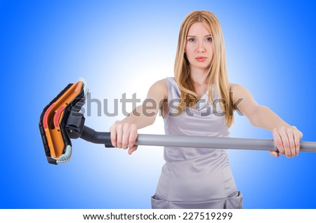 Woman doing housekeeping stuff at home