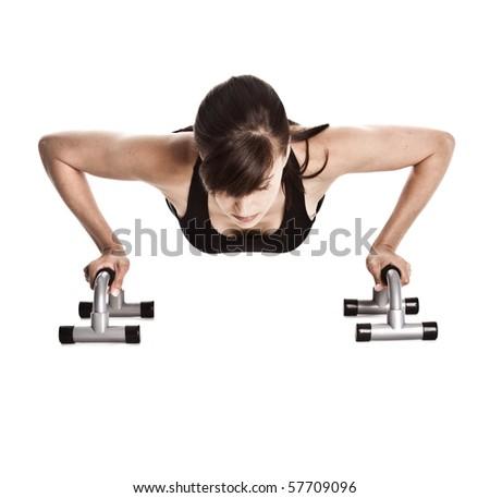 Woman doing push ups - stock photo