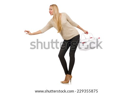 Woman doing shopping in supermarket isolated on white - stock photo