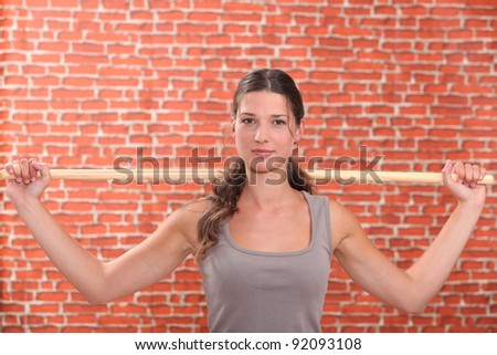 woman doing sport exercices - stock photo