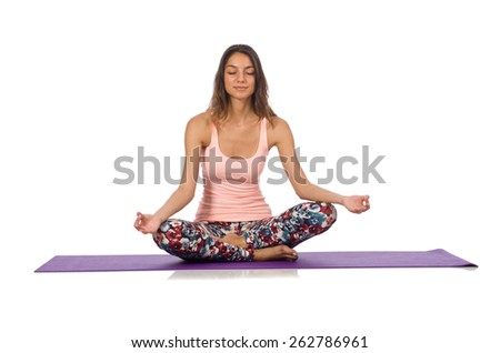 Woman doing sport exercises isolated on white - stock photo