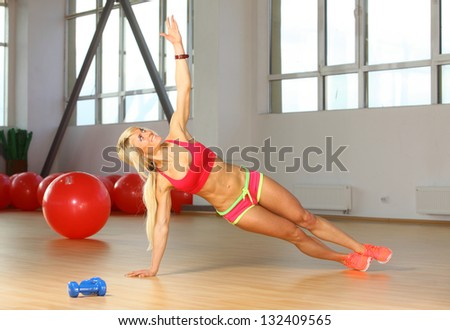 woman doing stretching - stock photo