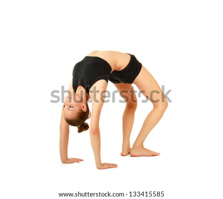 woman doing stretching excersises isolated on white background - stock photo