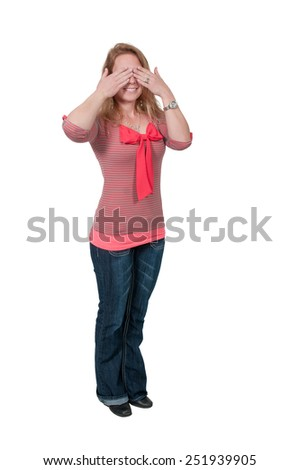 Woman doing the traditional see no evil gesture - stock photo