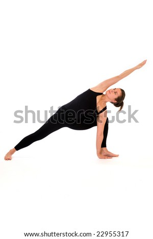 woman doing yoga pose. Isolated on white background.