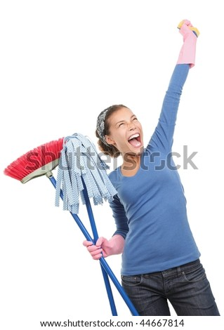 Woman done cleaning being very excited and happy. Beautiful mixed race asian / caucasian model isolated on white background. - stock photo