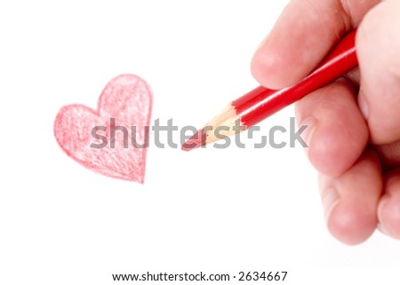 Woman doodling with a red coloring pencil