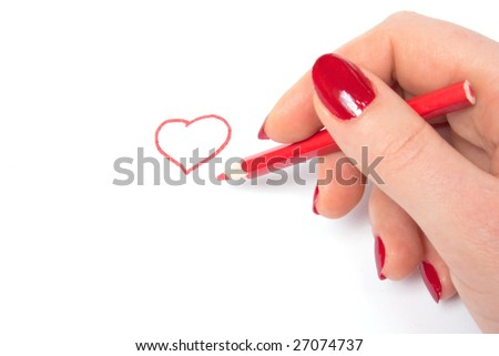 Woman draw red heart symbol, isolated on white